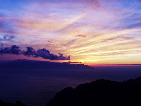 Landschaft, Sonnenuntergang über La Gomera