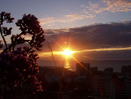 Sonnenuntergang aus Bar Alberto im Parque Taoro, Puerto de la Cruz